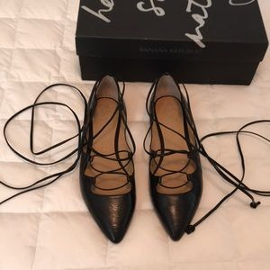 Banana Republic Allie lace up black flats